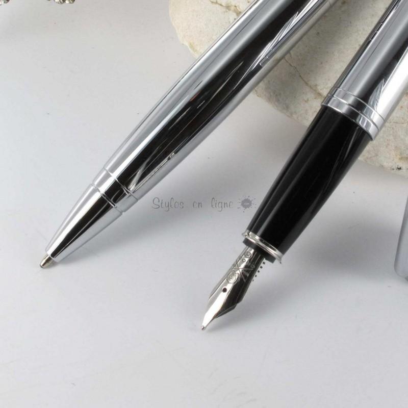 parure de stylo plume bille cross calais chrome sur. Black Bedroom Furniture Sets. Home Design Ideas