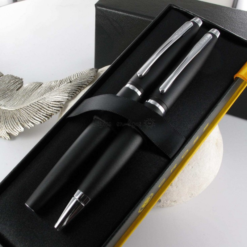 parure de stylo plume bille cross calais noir mat sur. Black Bedroom Furniture Sets. Home Design Ideas