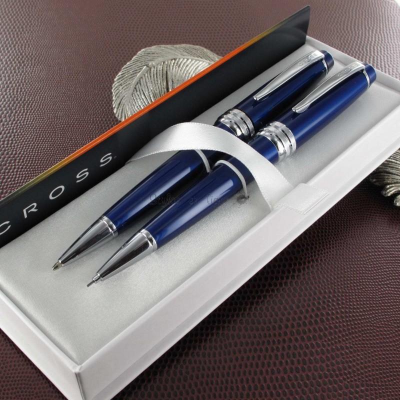 parure de stylos bille portemines cross bailey laque bleue. Black Bedroom Furniture Sets. Home Design Ideas