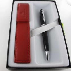 Coffret Stylo Bille Cross® Bailey Noir + Etui cuir Cross® Rouge