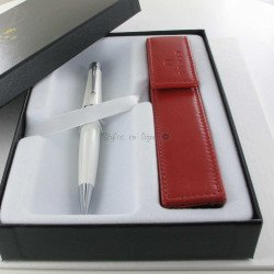 Coffret Stylo Bille Cross® Bailey Noir + Etui cuir Cross® Rouge